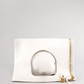 TOM FORD - White Lock Flat Foldover Bag