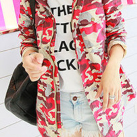 European Style Chic Camouflage Rose Red Coat