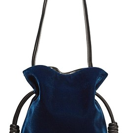 Loewe - Flamenco Knot small leather-trimmed velvet shoulder bag