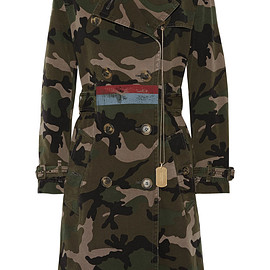 VALENTINO - Embellished camouflage-print cotton-canvas trench coa