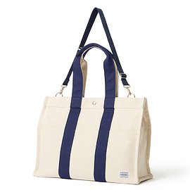 "HEAD PORTER - ""POLLOCK"" 2WAY TOTE BAG (M) BEIGE/NAVY"
