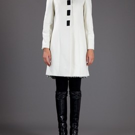 LOVE MOSCHINO - White Bow Detail Coat