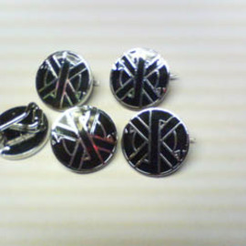 crass metal pin badge