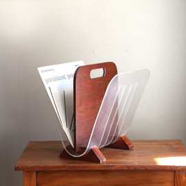 Vintage Lucite Acrylic and Wood Magazine Rack or Record Holder