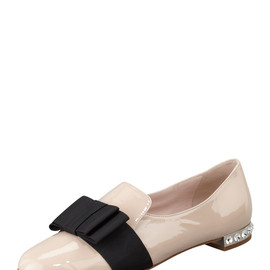miu miu - Patent Leather Bow Loafer, Pale Pink