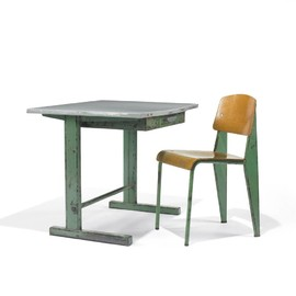 Jean Prouvé - Cité desk and Standard Chair (green)