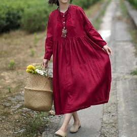 loose fitting dress - Red linen dress, maxi dress, loose fitting dress, wedding, solid color dress