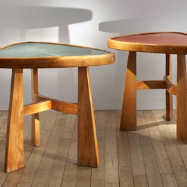 "Charlotte Perriand - ""Le Doron"" triangular tables"