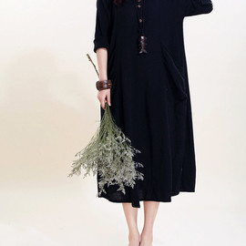 dress - Simple big pocket linen long sleeved dress/ Cotton Long dress/ Plus size maxi dress
