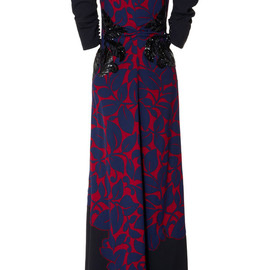 MARC JACOBS - SS2014 Breadfruit Satin Back Crepe Gown With Leaf Applique