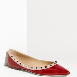 VALENTINO - Studded Flat /Red