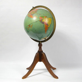 CathodeBlue - Vintage Library World Globe on Wooden Floor Stand, 12 in. Replogle Reference Globe, Beautiful colors