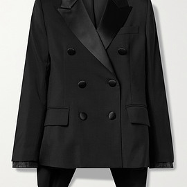 sacai - Asymmetric satin-trimmed grain de poudre and denim blazer