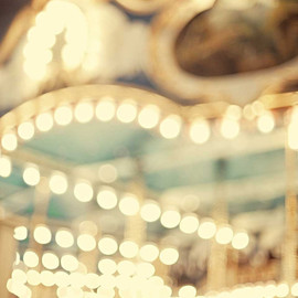 CarlChristensen - Carnival Photography Carousel Photo - featured on Apartment Therapy soft teal brown and blue shabby chic large print - A Sort Of Dream 16x20