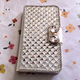 casemoda - All Rhombus Crystals Bowknot Bling Rhienstones PU Leather Mobile Cell Phone Case Cover