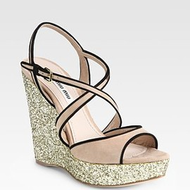 miu miu - Glitter and Suede Slingback Wedge Sandals