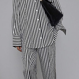 CELINE - BLACK & WHITE SHINY FLUID STRIPE PYJAMA SHIRT