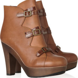 See by Chloé  Wooden-heeled leather boos - See by Chloé