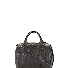 ALEXANDER WANG - Rockie In Pebbled Black With Rose Gold Thumb