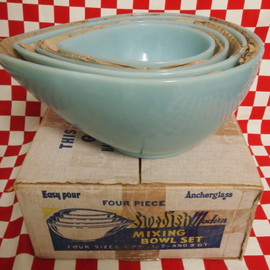 Fire KIng - Turquoise Blue Swedish Modern 4 Mixing Bowls Set