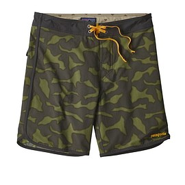 "patagonia - M's Scallop Hem Stretch Wavefarer® Boardshorts - 18"", Aerial Camo: Smoked Green (AESM)"