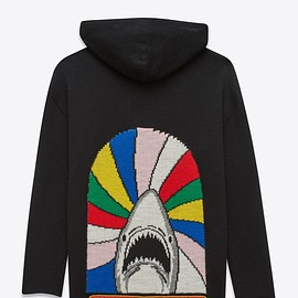 """SAINT LAURENT - OVERSIZED HOODED CARDIGAN IN """"SWEET DREAMS"""" SHARK WOVEN MULTICOLOR AND BLACK WOOL JACQUARD"""