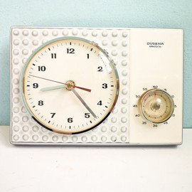 DUGENA - WALL CLOCK : TEMP RESERVED FOR Ca - Vintage 60s kitchen wall clock with timer porcelain ceramic