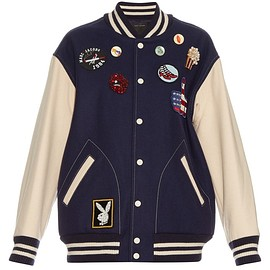 MARC JACOBS - SS2016 Bi-colour embellished varsity jacket