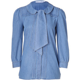 SEE BY CHLOE  - SEE BY CHLOE Denim Tie-Neck Silk Top