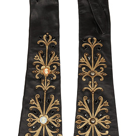 DOLCE&GABBANA - Embellished leather gloves