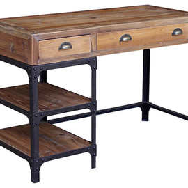 Kathy Kuo Home - Luca Reclaimed Wood Rustic Iron Industrial Loft Desk rustic irons