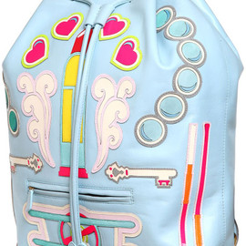 Manish arora - Manish Arora Faux Leather Appliqués Backpack in Blue (LIGHT BLUE) - Lyst