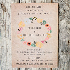 Wedding Invitation Suite - , floral wreath, casual wedding,