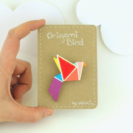 SketchInc - Geometric Brooch Neon 'Origami Bird'