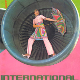 "BRANIFF INTERNATIONAL - Braniff In Flight magazine Hosetes in ""Pucci IV"" Inside ""747 Braniff plane"" engine"