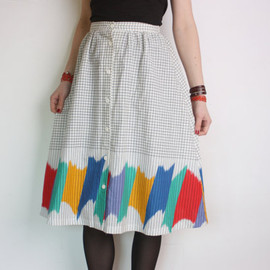 vintage - 80's plaid skirt, rainbow pattern, buttoned up A-line midi skirt