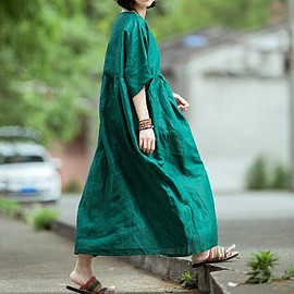 Green maxi dress, Women Loose Fitting Dresses, oversized dresses, Plus size long robes