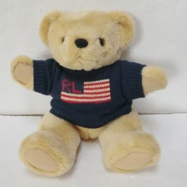 RALPH LAUREN - Ralph Lauren teddy bear 1996 Polo sweater plush stuffed animal flag jointed RL
