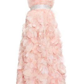 DOLCE&GABBANA - Crystal-embellished feather-trimmed silk gown