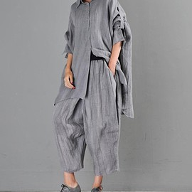 top - Womens linen shirt Loose Fitting shirt gown oversized image 0