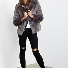 FOREVER 21 - collared luxe fur jacket