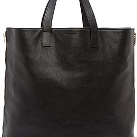 Saint Laurent  Paris - Saint Laurent Black Leather Silver Zip Rider Shopping Tote
