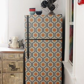 The Peel-and-Stick Makeover:   Wallpapered Fridge   Aunt Peaches