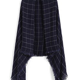 Romwe - Plaid Fringe Navy Scarf