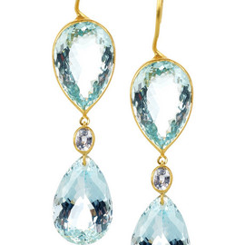 Marie-Helene de Taillac - aquamarine and blue sapphire earrings