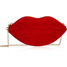 CHARLOTTE OLYMPIA - Kiss Purse suede shoulder bag