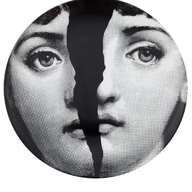 Fornasetti - Porcelain wall plate /Featuring a womans face with broken