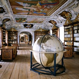 The Library of the Kremsmünster Abbey, Austria | Massimi Listri #photography | http://www.artnet.com/artwork/426132922/143920/massimo-listri-the-library-of-the-kremsmunster-abbey-austria.html