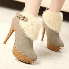 Sweet Comfortable Women Wool Stiletto Elegance Platform Ankle Boots