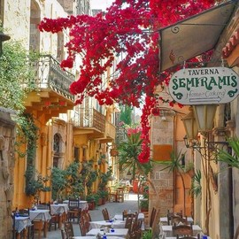 Isle of Crete, Greece - Sidewalk Cafe,